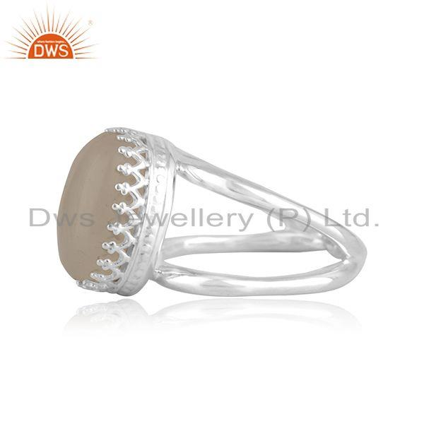 Exporter Rainbow Moonstone Crown Design 925 Silver Ring Manufacturer INdia