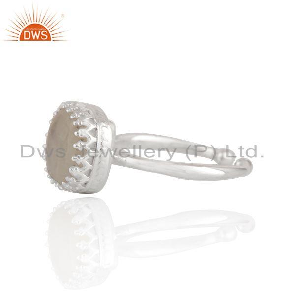 Exporter Crown Design 925 Sterling Fine Silver Rainbow Moonstone Ring Wholesale