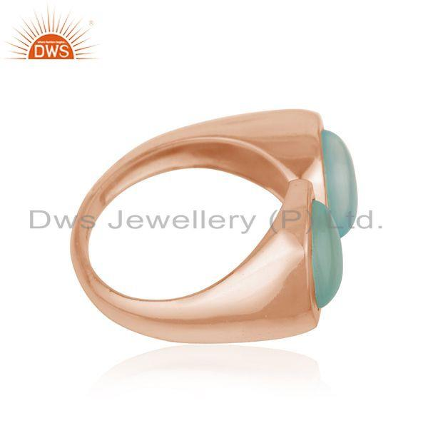 Exporter New Look Designer Rose Gold Plated Silver Aqua Chalcedony Ring Jewelry