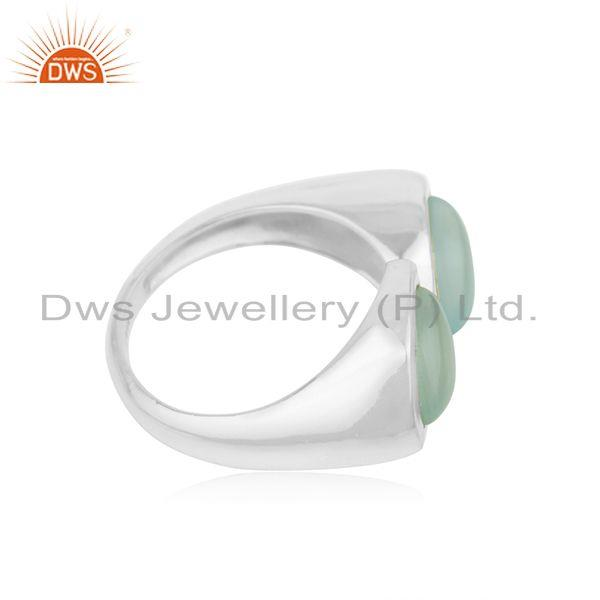 Manufacturer of Aqua Chalcedony Gemstone 925 Fine Sterling Silver Ring Wholesaler