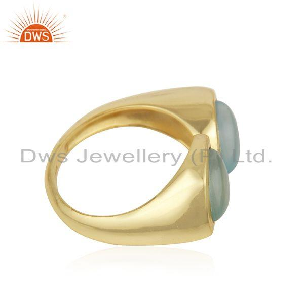 Exporter Aqua Chalcedony Gemstone Gold Plated Sterling Silver Ring Wholesaler