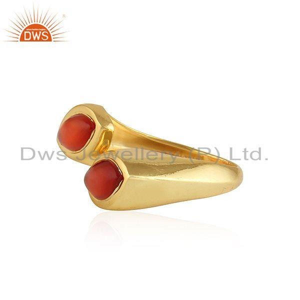 Exporter Marquoise Shape Red Onyx Gemstone 92.5 Silver Gold Plated Rings