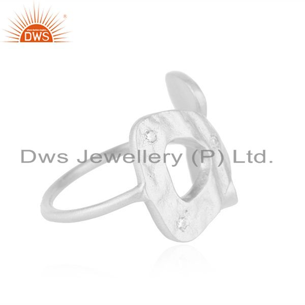 Supplier of White Zircon Fine 925 Sterling Silver Designer Ring Manufacturer