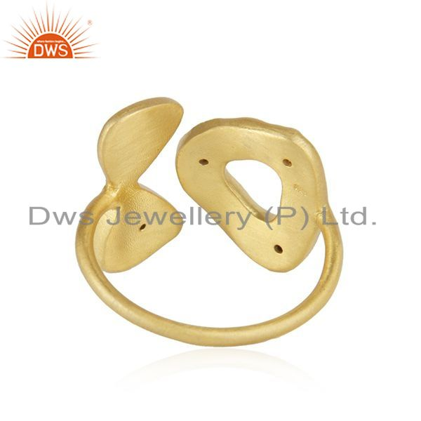 Exporter White Zircon Yellow Gold Plated 925 Silver Designer Ring Manufacturer