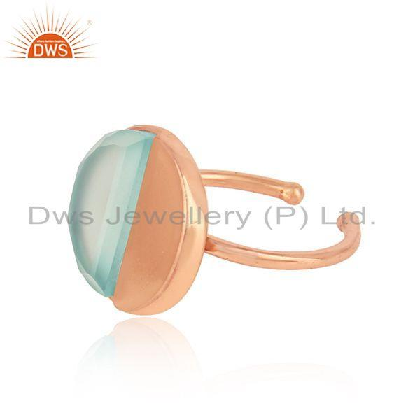 Exporter Rose Gold Plated Designer Silver Aqua Chalcedony Gemstone Ring Jewelry