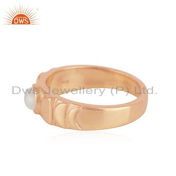 Supplier of Rose Gold Plated Sterling 925 Silver Moonstone Rainbow Band Rings