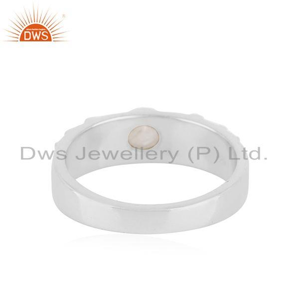 Manufacturer of Rainbow Moonstone Fine Sterling Silver Handmade Band Ring Manufacturer
