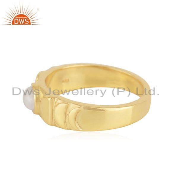 Exporter Rainbow Moonstone Yellow Gold Plated 925 Silver Band Ring Manufacturer