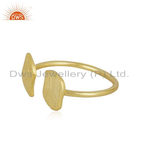Exporter Texture Gold Plated 925 Sterling Silver Designer Leaf Ring Jewelry