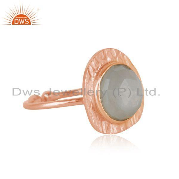 Exporter New Arrival Rose Gold Plated Silver Gray Moonstone Ring Jewelry