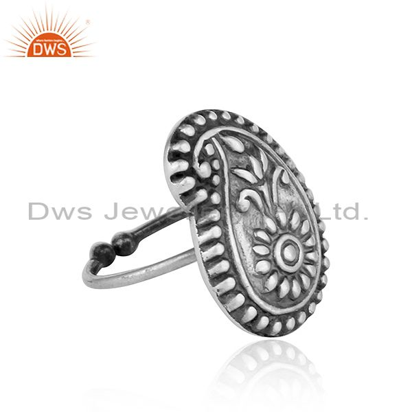 Exporter New Antique Oxidized Plain Silver Designer Tribal Ring Jewelry