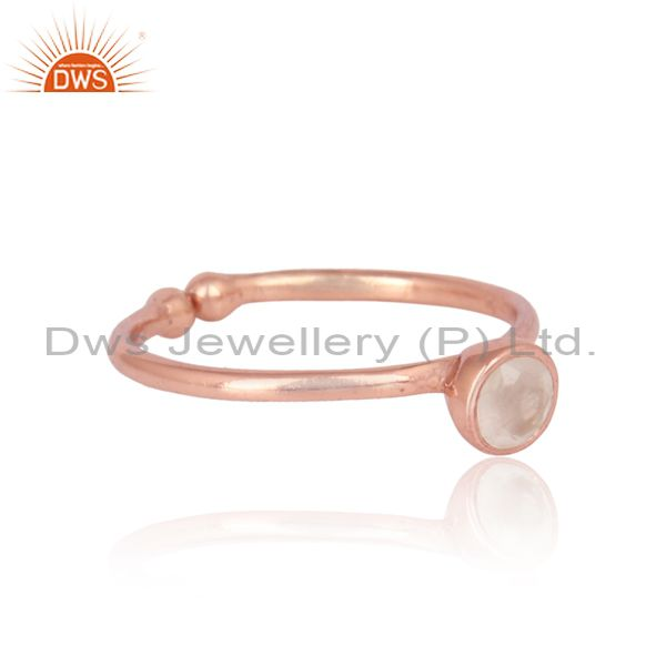 Exporter Rose Gold Plated Silver Rose Quartz Gemstone Womens Ring Jewelry