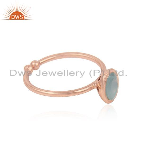 Exporter Aqua Chalcedony Gemstone Womens Rose Gold Plated Silver Rings Jewelry
