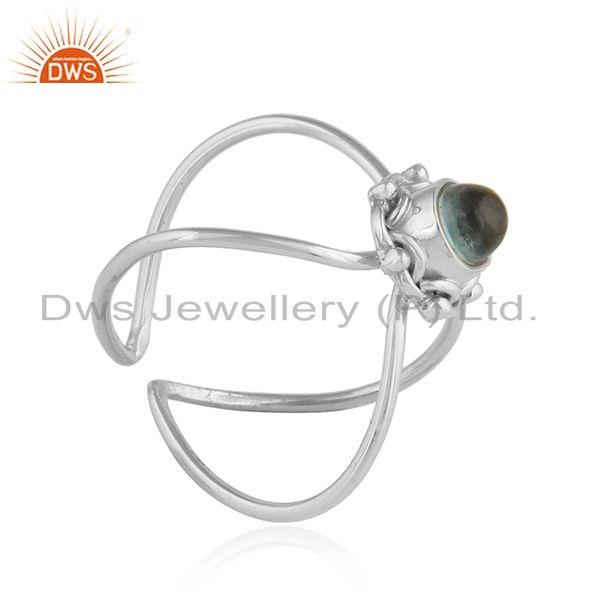 Exporter Apatite Gemstone Designer Oxidized 92.5 Sterling Silver Ring Jewelry