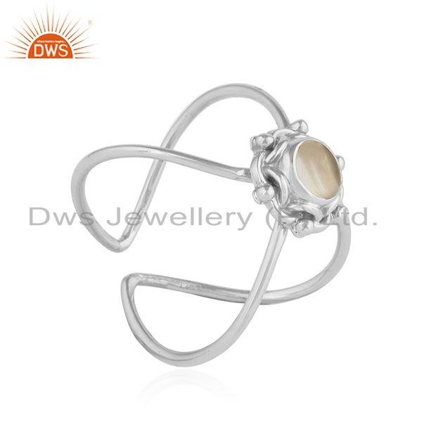 Exporter Crystal Quartz Gemstone Oxidized Plated Sterling Silver Ring Jewelry