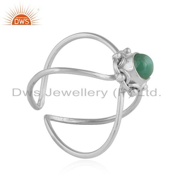 Exporter Natural Emerald Gemstone Oxidized Designer 92.5 Silver Ring Jewelry