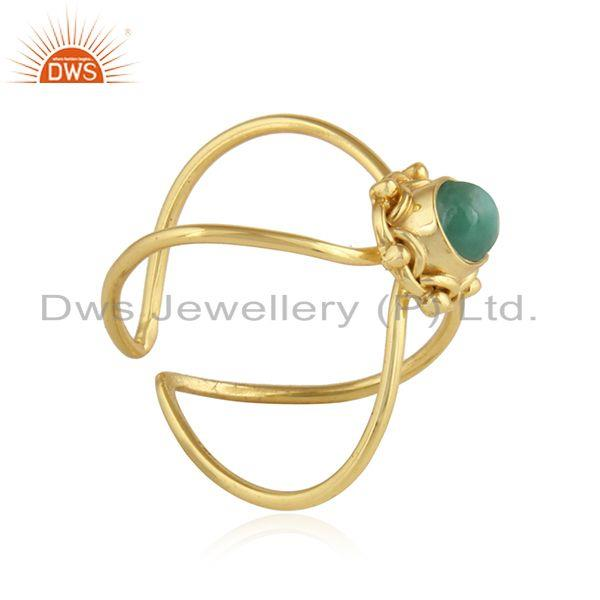 Exporter Natural Emerald Gemstone Gold Plated Designer 92.5 Silver Ring Jewelry