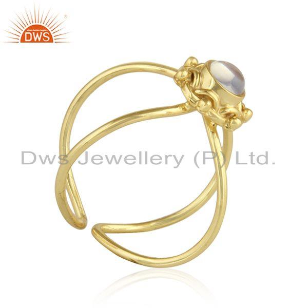 Exporter Ethiopian Opal Gemstone Gold Plated Designer 92.5 Silver Ring Jewelry