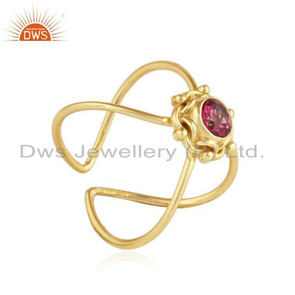 Exporter Pink Topaz Gemstone Yellow Gold Plated Handmade 925 Silver Rings