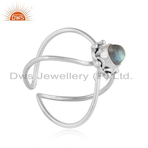 Exporter Natural Labradorite Gemstone Oxidized Silver Stackable Ring Jewelry