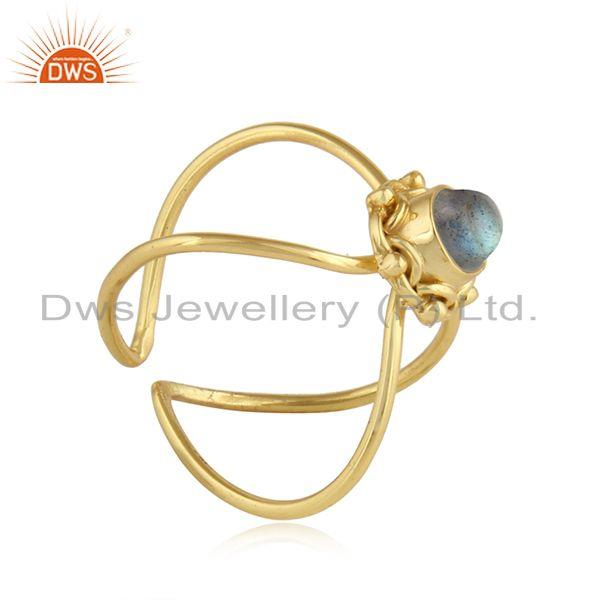 Exporter Natural Labradorite Gemstone Designer 925 Silver Gold Plated Rings