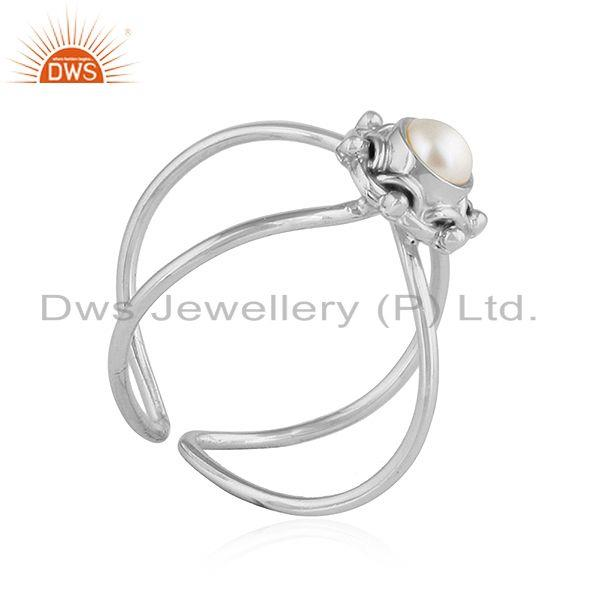 Exporter Natural Pearl Gemstone Designer Oxidized Silver Stackable Ring Jewelry