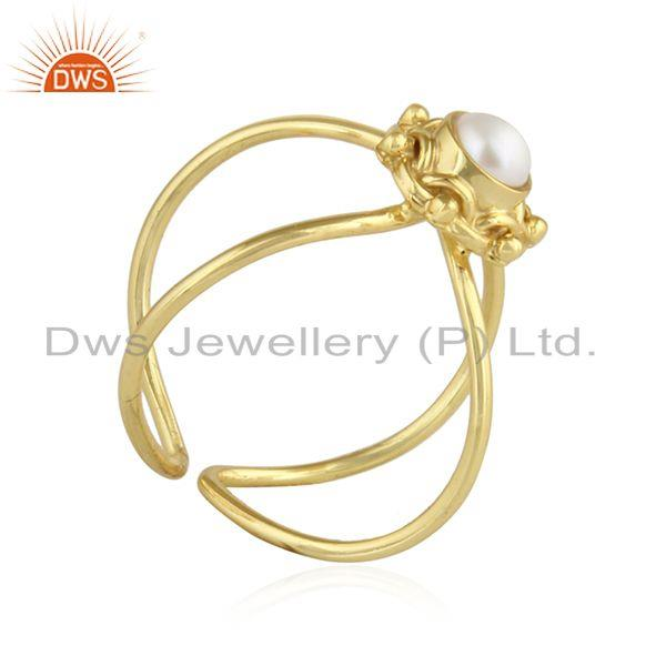 Exporter Natura Pearl Gemstone Handmade Design Gold Plated Silver Ring Jewelry