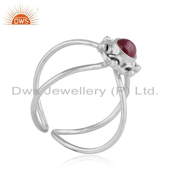 Exporter Natural Ruby Gemstone Designer Sterling Silver Oxidized Ring Jewelry