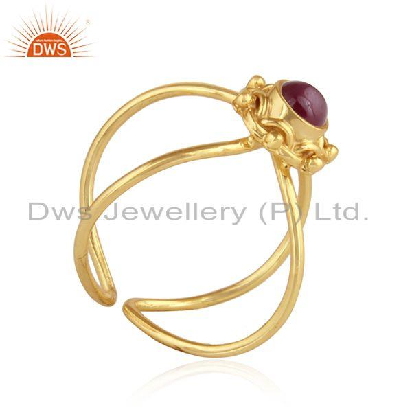 Exporter Natural Ruby Gemstone Designer Gold Plated Silver Womens Rings Jewelry