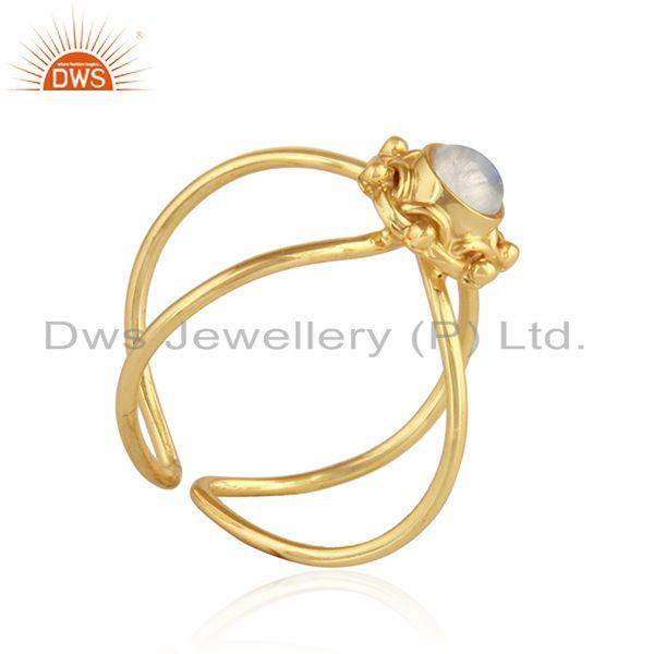 Exporter Rainbow Moonstone Handmade Gold Plated Designer Silver Ring Jewelry