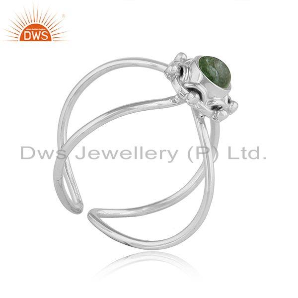 Exporter Green Tourmaline Gemstone New Sterling Silver Oxidized Ring Jewelry