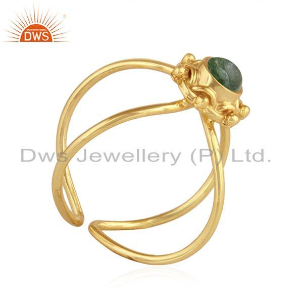 Exporter Green Tourmaline Gemstone Womens Gold Plated Silver Ring Jewelry