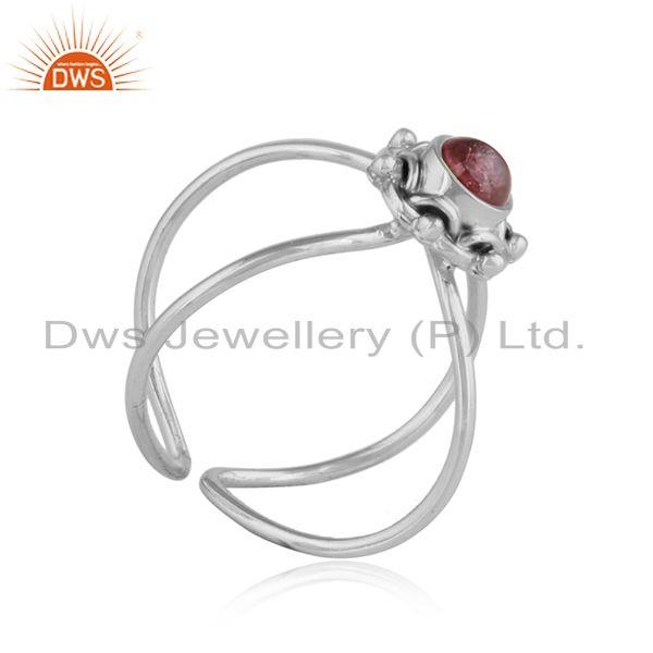 Exporter Pink Tourmaline Stackable Design 92.5 Silver Oxidized Rings Jewelry