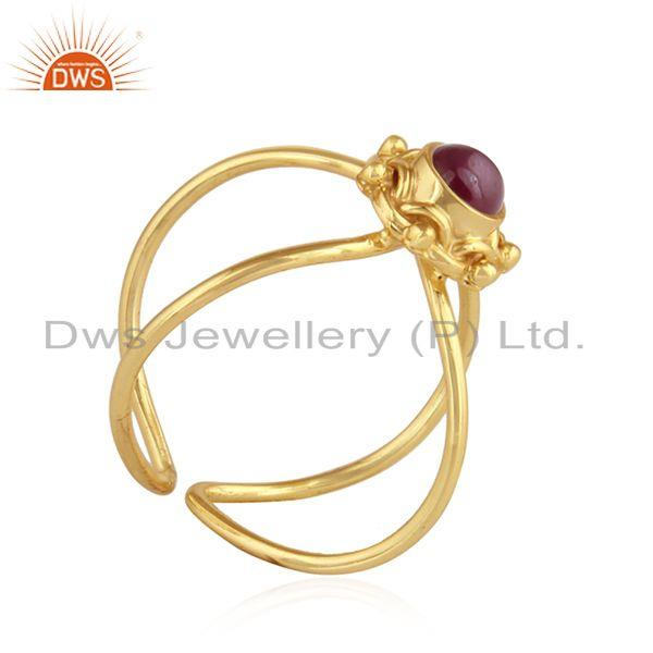 Exporter Pink Tourmaline Designer Gold Plated 925 Silver Womens Ring Jewelry