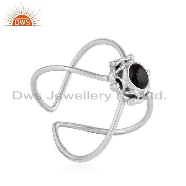 Exporter Black Onyx Gemstone Handmade Design Oxidized Sterling Silver Rings