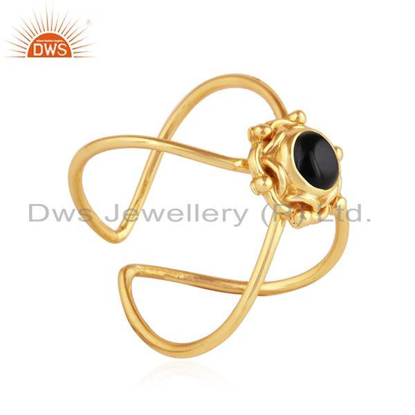 Exporter Natural Black Onyx Gemstone Yellow Gold Plated Silver Ring Jewelry