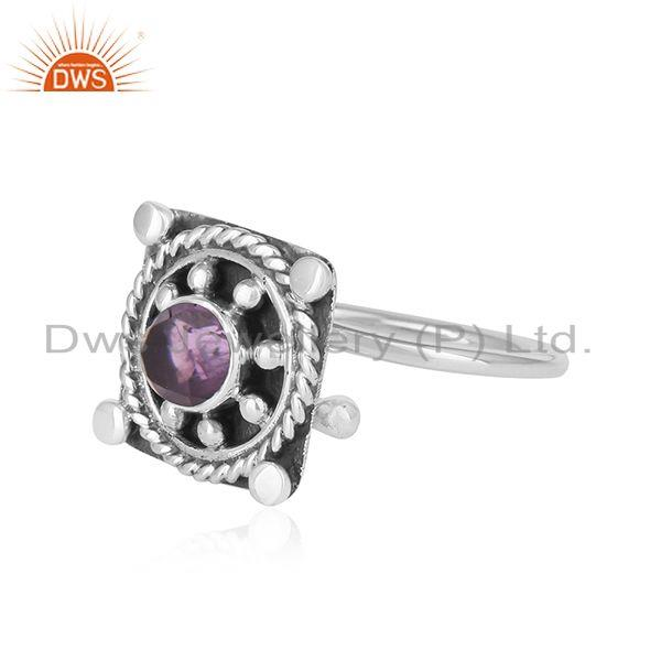 Exporter Vintage Design Oxidized 925 Silver Natural Amethyst Gemstone Rings