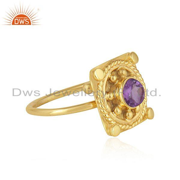 Exporter 22k Gold Plated Vintage Design Silver Natural Amethyst Ring Jewelry