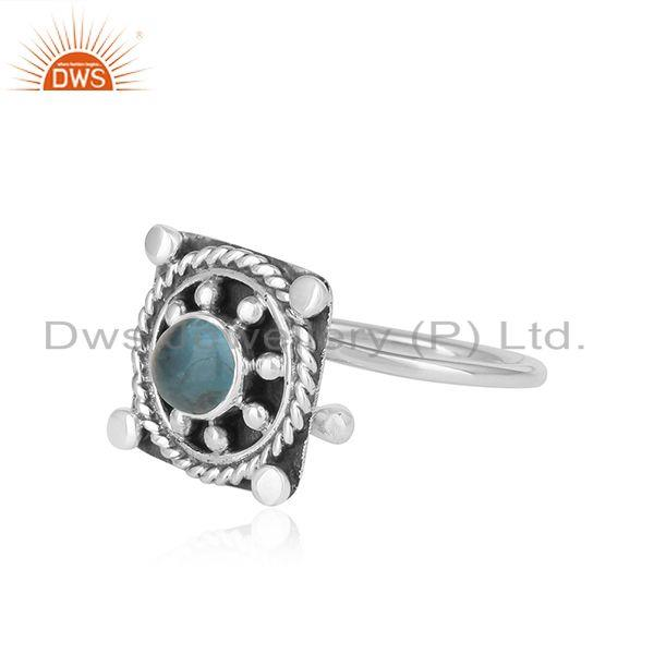Exporter Antique Vintage Design Oxidized Sterling Silver Apatite Gemstone Rings