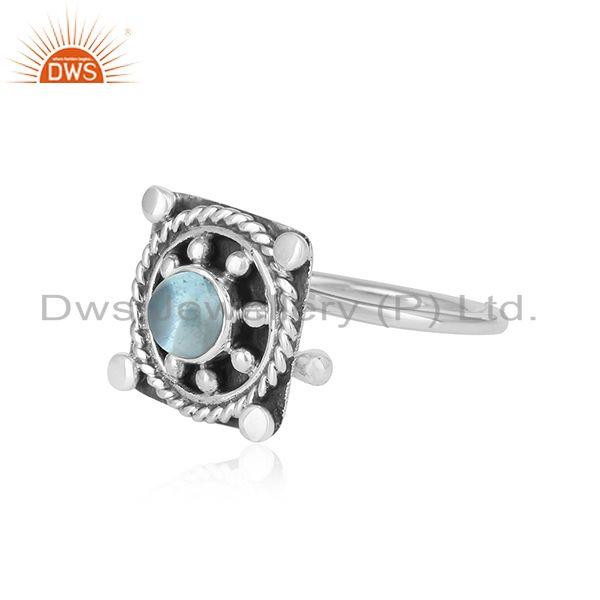 Exporter Blue Topaz Gemstone Antique Oxidized Silver Ring Jewelry For  Girls