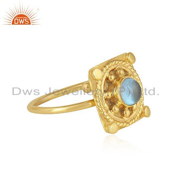Exporter Vintage Designer Yellow Gold Plated 925 Silver Blue Topaz Ring Jewelry