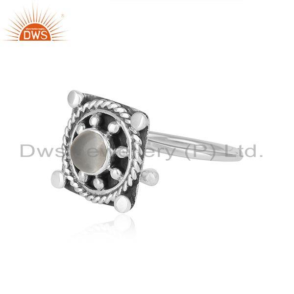 Exporter Crystal Quartz Gemstone Oxidized Designer Sterling Silver Ring Jewelry