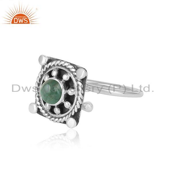 Exporter Natural Emerald Gemstone Antique 925 Silver Oxidized Ring Jewelry