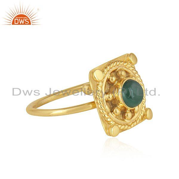 Exporter Handamde Yellow Gold Plated Silver Natural Emerald Gemstone Rings