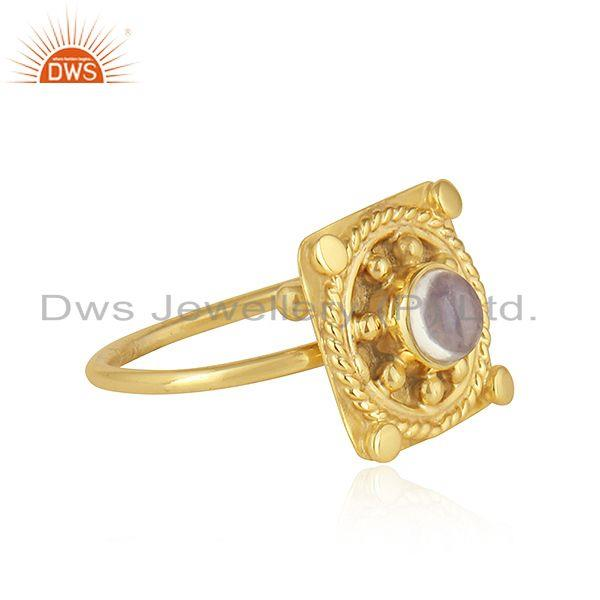 Exporter Ethiopian Opal Gemstone Designer Gold Plated 925 Silver Ring Jewelry