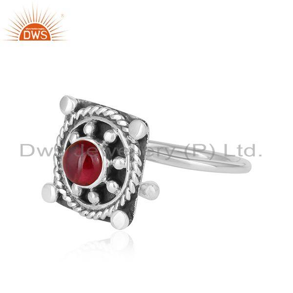 Exporter Natural Garnet Vintage Design Sterling Silver Oxidized Ring For Womens