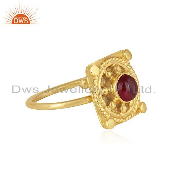 Exporter Natural Garnet Gemstone Gold Plated Vintage Designer Silver Rings