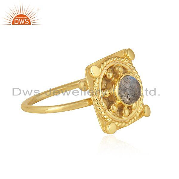 Exporter Labradorite Gemstone New Yellow Gold Plated Silver Ring Jewelry