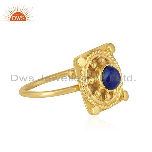 Exporter Natural Lapis Lazuli Gemstone Gold Plated Handmade Silver Ring Jewelry