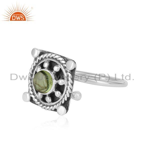 Exporter Peridot Gemstone Oxidized 925 Silver Antique Design Womens Rings